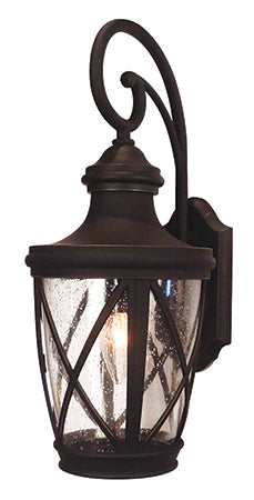 Claremont Series light fixture with a criss cross pattern, curved mounting arm, and clear seedy glass
