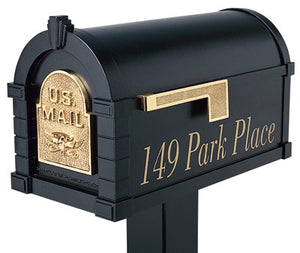 Keystone Mailbox showing gold lettering of street address.