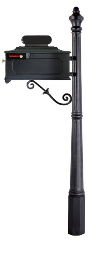 Black imperial geometric design mailbox and slim fluted post. The S scroll accentuates the mailbox and post from underneath.
