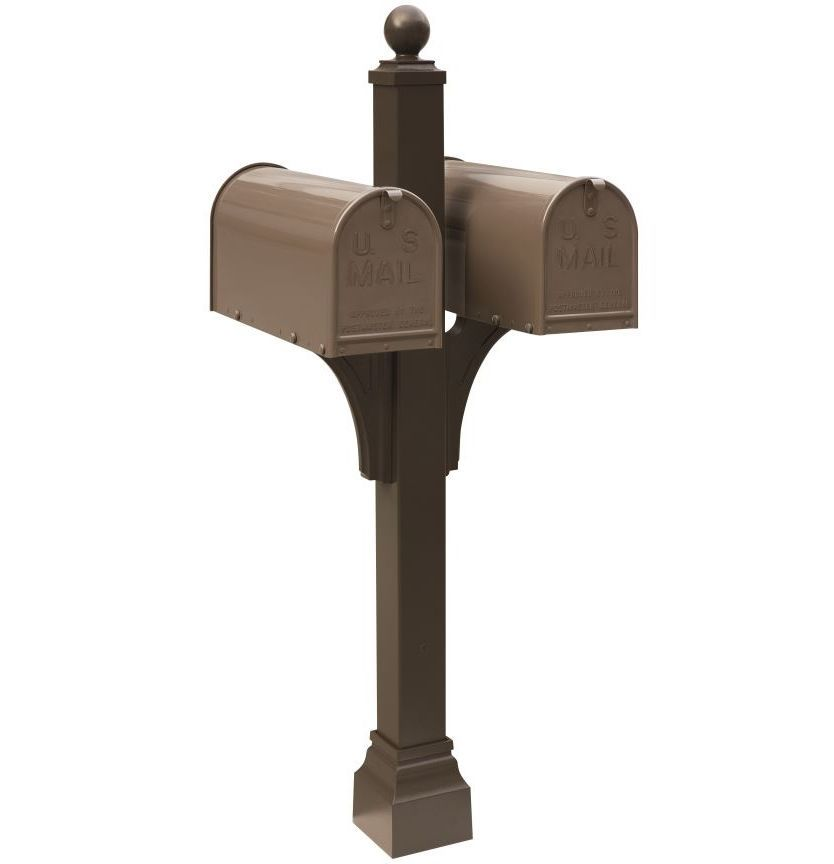 Bronze Janzer double Mailbox with decorative ball finial and decorative, square cuff at the base. Two bronze mailboxes are mounted on either side.