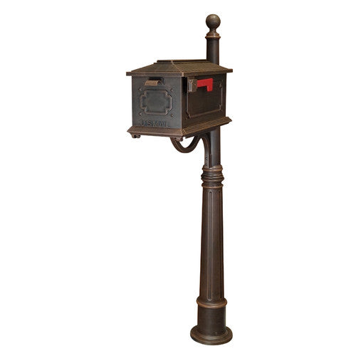 Special lite copper kingston curbside mailbox with geometric shape on the side and front door. Modern address plaque secured to the top with 2 inch brass numbers