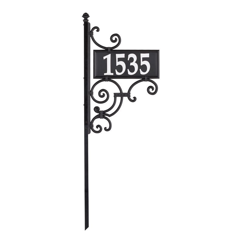 Nite Bright reflective ornate post with rectangle address plaque and reflective address numbers
