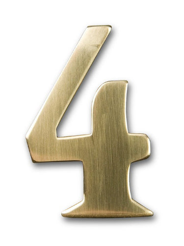 Two inch brass number 4, self adhering amde by 3m