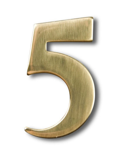 Two inch brass number 5, self adhering made by 3m