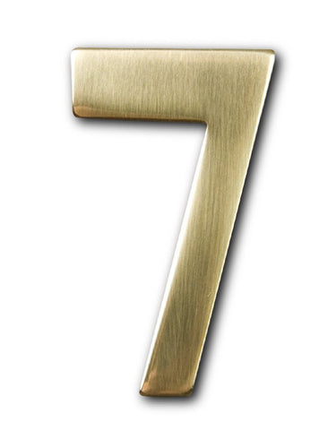 Two inch brass number 7, self adhering made by 3m