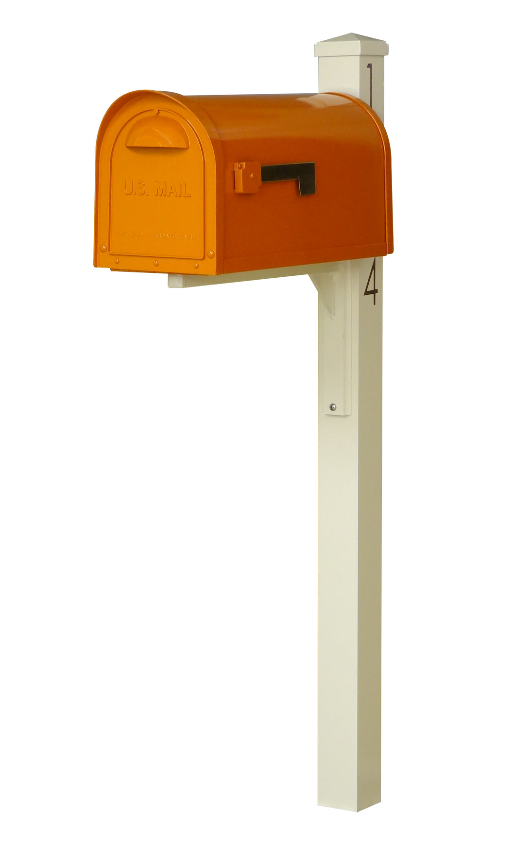 Special lite mid-century modern mailbox and post.  An Orange powdered coated mailbox  with side flag. A square ivory post with pyramind finial and black vinyl address numbers on the side