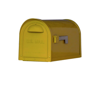 Special lite mid-century yellow dylan mailbox with side flag