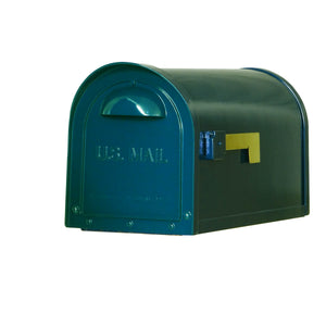 Special lite mid-century green dylan mailbox with  side flag