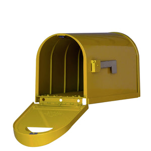 Special lite mid-century yellow dylan mailbox with side flag and open door to view inside and stainless steel hinge