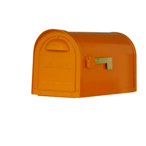 Special lite mid-century orange dylan mailbox with side flag