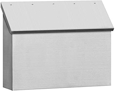 Stainless steel horizontal wall mount mailbox with an angled door