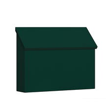 Load image into Gallery viewer, green powdered coat horizontal wall mount mailbox with angled door on top