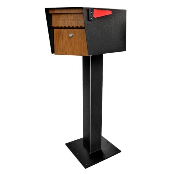 Black powder coated Mail manager mailbox with wood grain door, secure locking door, red flag, and post