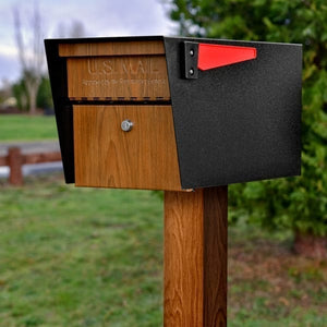 Black powder coated Mail manager mailbox with wood grain door, secure locking door, red flag, and wood grain post
