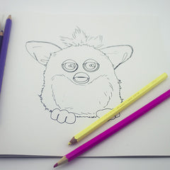 Colour Me Good 90s colouring book - Furby colouring page - by Mel Elliott