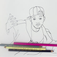 Colour Me Good 90s colouring book - Will Smith colouring page - by Mel Elliott
