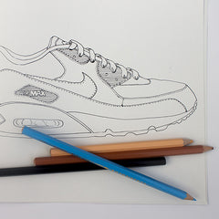 Colour Me Good 90s colouring book - air max colouring page - by Mel Elliott