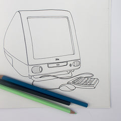 Colour Me Good 90s colouring book - iMac colouring page - by Mel Elliott