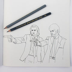 Colour Me Good 90s colouring book - Pulp Fiction colouring page - by Mel Elliott