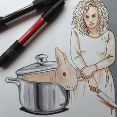 Colour Me Good Arrggghhhh!! colouring book - Fatal Attraction colouring page - by Mel Elliott
