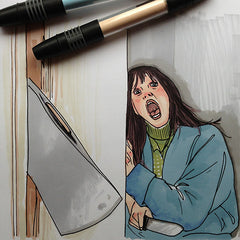 Colour Me Good Arrggghhhh!! colouring book - The Shining colouring page - by Mel Elliott