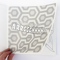 Colour Me Good Arrggghhhh!! colouring book - inside page with The Shining carpet pattern - by Mel Elliott