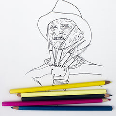 Colour Me Good Arrggghhhh!! colouring book - Nightmare on Elm Street colouring page with Freddy Kreuger - by Mel Elliott