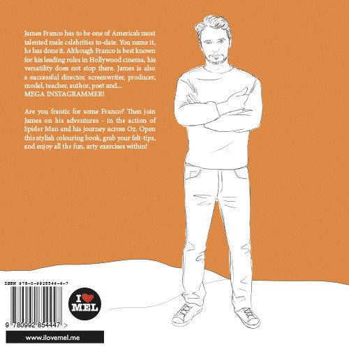 James Franco colouring pages. James Franco back cover.