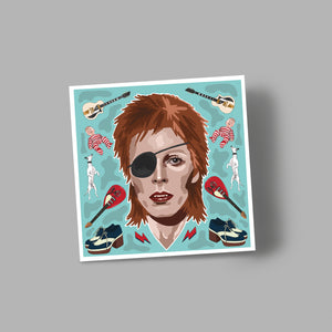 'BOWIE' blank greetings card