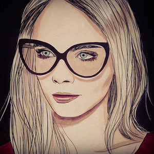 Colour Me Good Cara - Cara Delevingne colouring book - Cara in glasses colouring page - by Mel Elliott