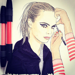 Colour Me Good Cara - Cara Delevingne colouring book - make up artist colouring page - by Mel Elliott