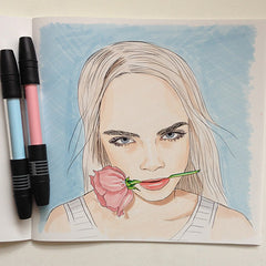 Colour Me Good Cara - Cara Delevingne colouring book - Cara with a rose colouring page - by Mel Elliott