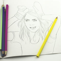 Colour Me Good Cara - Cara Delevingne colouring book - funny faces colouring page - by Mel Elliott