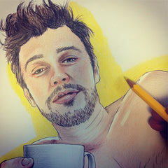 James Franco coloring page. James Franco in bed. James Franco colouring in.