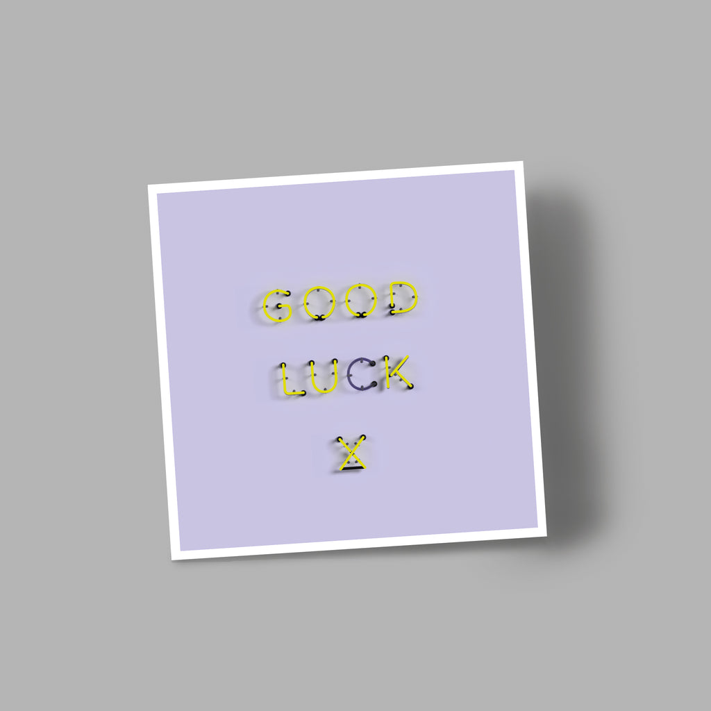 'GOOD LUCK' blank greetings card