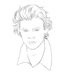 Harry Styles colouring page. Harry Styles hair. Harry Styles portrait.