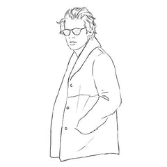 Harry Style colouring page. Harry Styles in winter coat. Harry Styles in sunglasses.