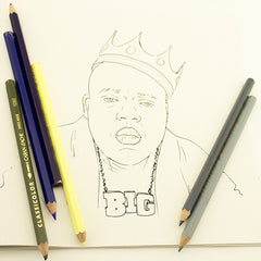 Colour Me Good Hip Hop colouring book - Notorious Big colouring page - by Mel Elliott