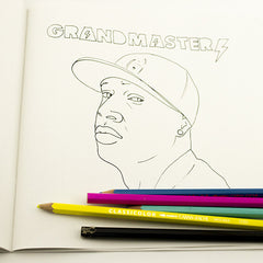Colour Me Good Hip Hop colouring book - Grandmaster Flash colouring page - by Mel Elliott