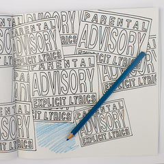 Colour Me Good Hip Hop colouring book - parental advisory label colouring page - by Mel Elliott