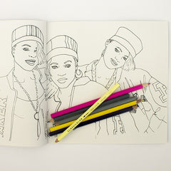 Colour Me Good Hip Hop colouring book - colouring page - by Mel Elliott