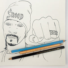 Colour Me Good Hip Hop colouring book - Snopp Dog colouring page - by Mel Elliott