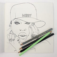 Colour Me Good Hip Hop colouring book - Missy Elliot colouring page - by Mel Elliott