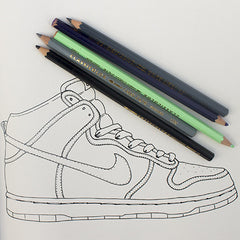 Colour Me Good Hip Hop colouring book - nike trainer colouring page - by Mel Elliott