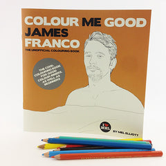 James franco colouring book. Colouring pencils.