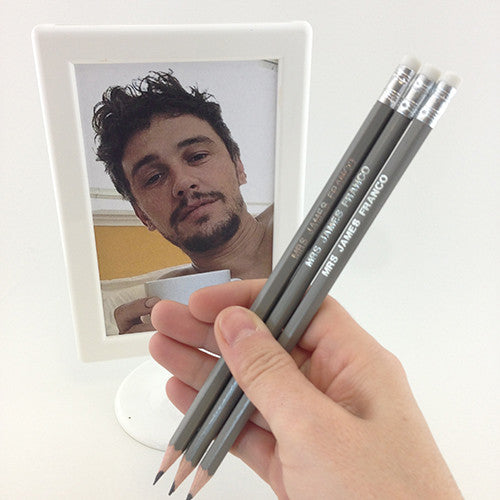 Mrs James Franco Pencils - novelty hand stamped pencils - pop culture pencils by Mel Elliott
