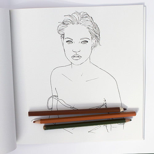 Colour Me Good Kate Moss colouring book - colouring page - by Mel Elliott