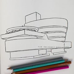Colour Me Good Modern Art colouring book - Solomon R Guggenheim Museum colouring page - by Mel Elliott