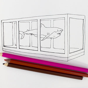 Colour Me Good Modern Art colouring book - Damien Hirst shark colouring page - by Mel Elliott