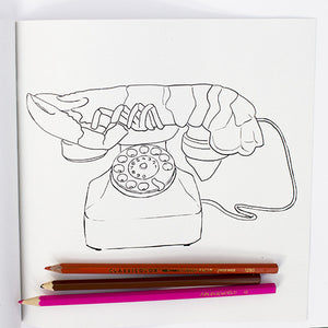 Colour Me Good Modern Art - Salvador Dalí lobster phone colouring page - by Mel Elliott